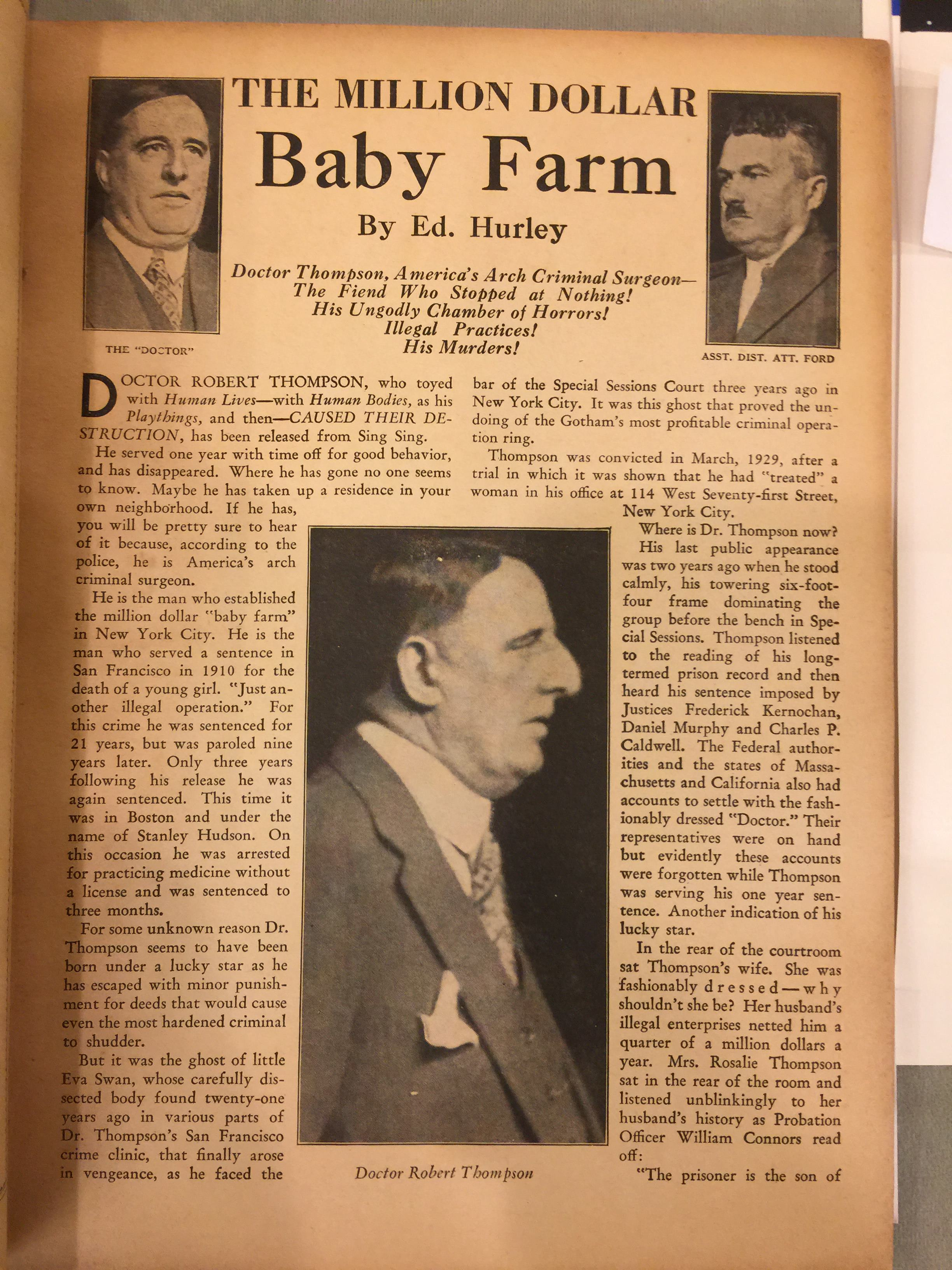 The million dollar baby farm, from Medical Horrors #1